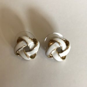 Jewelry - GOLD AND WHITE KNOTTED POST EARRINGS